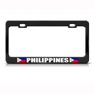 Philippines Filipinas Flag Black Country Metal License Plate Frame Tag Holder: Automotive