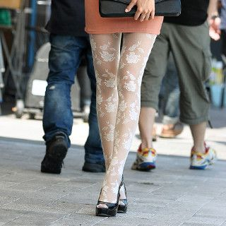 Rose Print Tights, Cream , One Size   SO Central