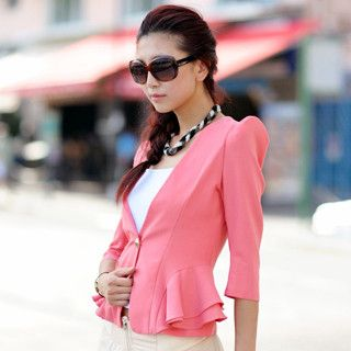 Shoulder Pad Peplum Blazer, Pink , One size   SO Central