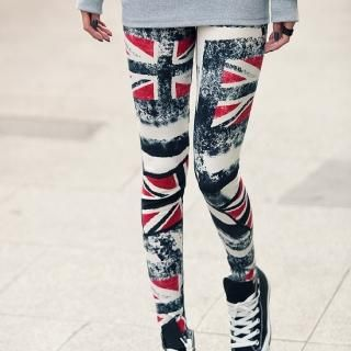 Union Jack Print Leggings, Blue , One Size   REDOPIN