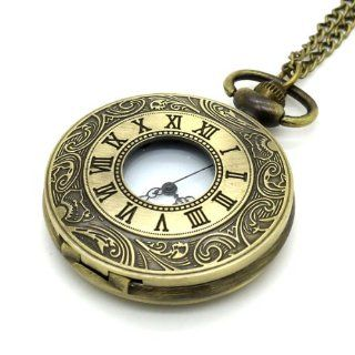Conbays Antique Bronze Rome Roman Number Necklace Hollow Quartz Pocket Watch Chain: Watches