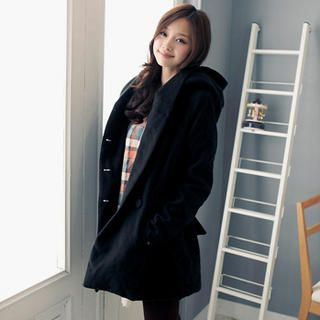 Oversized Hood Double Breasted Coat, Black , 50   OrangeBear