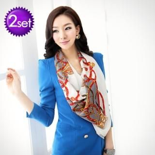 Set: Double Breasted Blazer + Scarf, Jacket , Pink , 66 / Scarf , Mint Green , One Size   Orange Style
