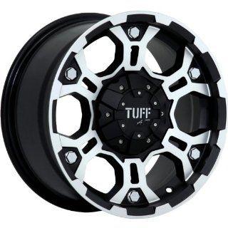 Tuff T03 15 Machined Black Wheel / Rim 5x4.5 & 5x5 with a  13mm Offset and a 78.1 Hub Bore. Partnumber T03DK5FJ13K78: Automotive