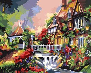Cottage of the forest Acrylic (2013 New DIY paint by number 16*20'' kit) Arts, Crafts & Sewing