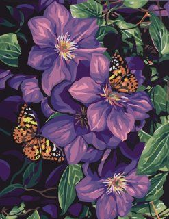 Clematis & Butterflies Acrylic (2013 New DIY paint by number 16*20'' kit) Arts, Crafts & Sewing