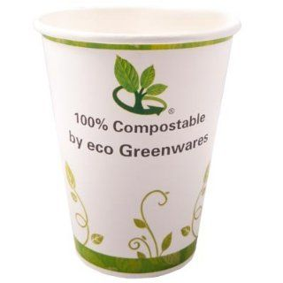 Eco Greenwares 12 Oz Hot Cups Compostable PLA Paper 1000 Count: Industrial & Scientific