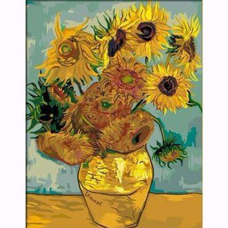 """DiyOilPaintings Paint By Numbers Kits, Paint By Number Kits, 20""""x16"""", Original Oil Painting By Van Gogh, Sunflowers Paint By Numbers Kits Masterpieces Arts, Crafts & Sewing"""