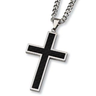 Black Carbon Fiber and Polished Stainless Steel Cross Necklace on 24 Inch Chain: West Coast Jewelry: Jewelry