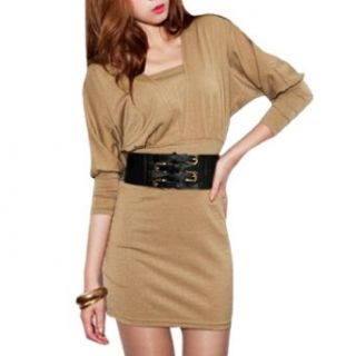 Woman Khaki Batwing Long Sleeves Sheath Waist Mini Dress w Belt XS: Clothing