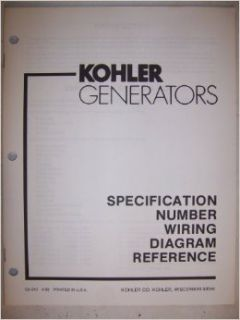 Kohler Generators   Specification Number Wiring Diagram Reference: Kohler Co: Books
