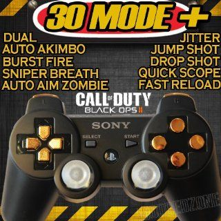 Playstation 3 Black/gold Rapid Fire Modded Controller 30 MODE for Black Ops 2 Cod Mw3 Sniper Breath Jump Shot Jitter Quick Scope Auto Aim: Video Games
