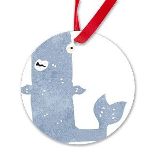 retro cartoon whale Ornament by Admin_CP70839509