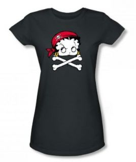 Betty Boop   Boop Pirate Juniors T Shirt In Charcoal: Clothing