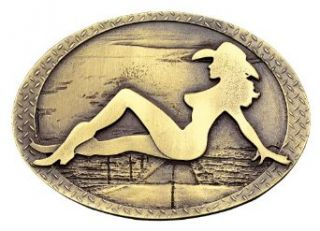 Montana Silversmiths Men's Mud Flap Cowgirl Belt Buckle Brass One Size: Clothing