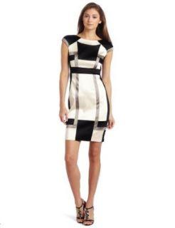 Jax Women's Colorblock Dress, Pearl/Black, 16 at  Women�s Clothing store
