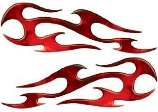 Full Color Reflective Fire Red Flame Decals: Automotive