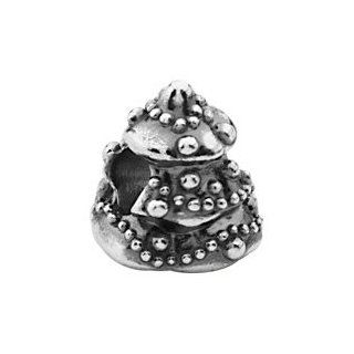Bead. Sterling Silver Kera Christmas Tree Bead 12.25 mm. 100% Satisfaction Guaranteed.: Ibiza: Jewelry