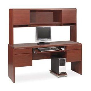 Bestar Willow Creek II Wood Home Office Credenza Desk Set with Hutch in Bordeaux