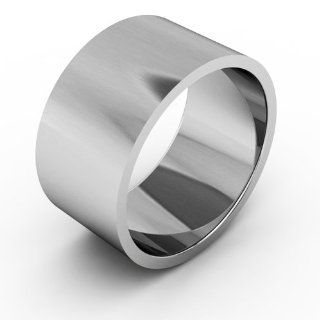 18K White Gold Men's & Women's Wedding Bands 10mm flat: Jewelry