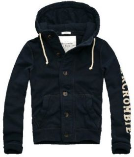 Abercrombie & Fitch Mens Full Button Heritage Hoodie, Navy (Medium) Clothing