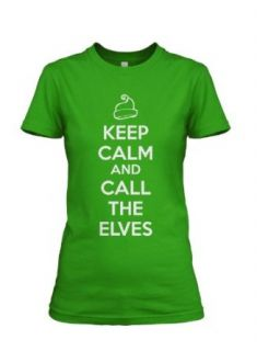 Women's Keep Calm and Call the Elves T Shirt funny Christmas tee for women: Clothing