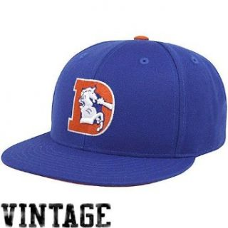 Denver Broncos Mitchell & Ness Throwback Basic Logo Fitted Hat : Sports Fan Baseball Caps : Sports & Outdoors