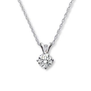 Kay Jewelers Diamond Necklace 3/4 Carat Round cut 14K White Gold: Jewelry