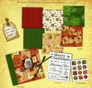 "Merry Christmas Themed 8"" X 8"" Mini Scrapbook Kit: Arts, Crafts & Sewing"