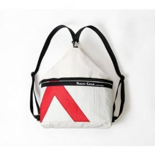 Sardinia Sack Backpack in White Sailcloth with Red Number: Clothing