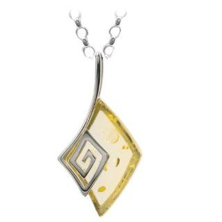 Lemon Amber Sterling Silver Drop Pendant Rolo Chain 18 Inches: Ian and Valeri Co.: Jewelry