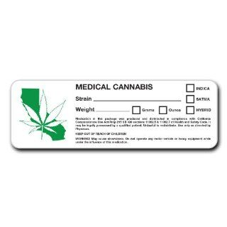 RX Medical Cannabis Strain 100 Labels California State Compliant CA PROP Sticker Decal Identifer Marijuana, Pot, Ganja, 420, Sticky icky: Office Products
