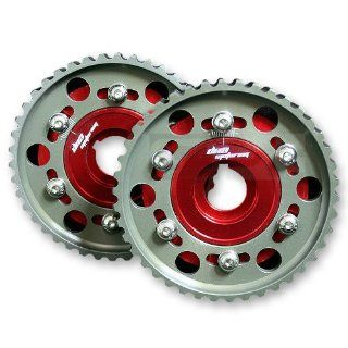 DPT, CG H22 DO RD X2, Anodized Aluminum Red Adjustable Dual Cam Gears Automotive