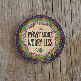 "Natural Life Religious Motif ""Pray More Worry Less"" Car Coaster: Kitchen & Dining"