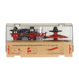 Freud 97 106 3 Piece Cabinet Door Router Bit Set with 99 566 Raised Panel Bit with Backcutter: Home Improvement