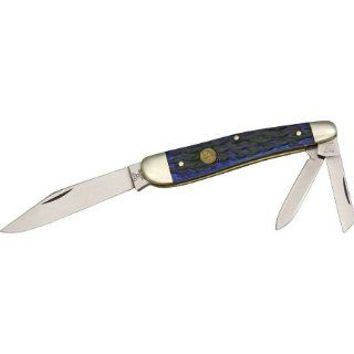 Hen & Rooster Knives 113BLPB Whittler Pocket Knives with Blue Pick Bone Handles   Pocketknives