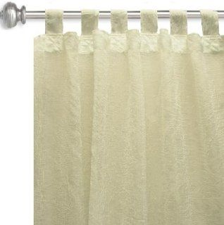 114'' Wide Crushed Voile Sheer with Tab Top Ivory Fabric By The Yard: Arts, Crafts & Sewing
