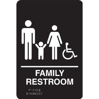 "Accuform Signs PAD122BK ADA Braille Tactile Sign, Legend ""FAMILY RESTROOM"" with Graphic, 6"" Width x 9"" Length x 1/8"" Thickness, White on Black: Industrial Warning Signs: Industrial & Scientific"