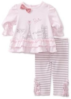 Hartstrings Baby girls Newborn Interlock Paris Tunic And Striped Legging Two Piece Set, Pink Stripe, 0 3 Months: Clothing