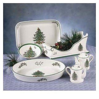 Spode Christmas Tree Green Trim Fruit/Dessert (Sauce) Bowl, Fine China Dinnerware: Kitchen & Dining