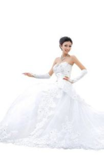 Biggoldapple A Line Sweetheart Cathedral Train Organza Wedding Dress 141: Clothing