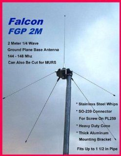 Falcon FGP 2m, 2 Meter 1/4 Wave Ground Plane Base Amateur Ham Radio Antenna 144 148 Mhz