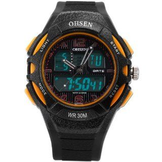 OHSEN LCD Dual Core Mens Outdoor Sport Date Day Alarm Stopwatch Rubber Wrist Watch OHS149 OHS149: Watches