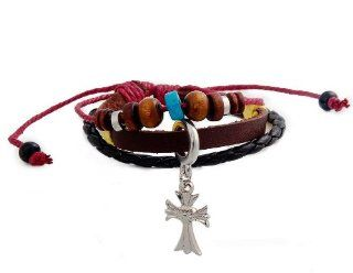 ETOU Stylish Cross Pendant Leather Bracelet M.  Sports Fan Bracelets  Sports & Outdoors