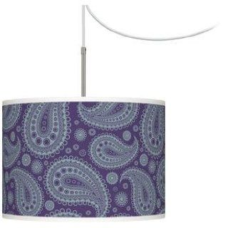 Purple Paisley Linen Giclee Glow Swag Plug In Chandelier: Home Improvement