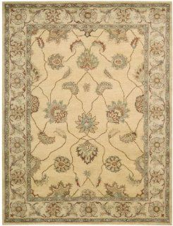 Nourison Charleston Gold Sarouk 5.6 Feet by 7.4 Feet 100 Percent Wool Area Rug   Hand Tufted Rugs