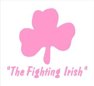 """The Fighting Irish With Shamrock, Decal Sticker Laptop, Notebook, Window, Car, Bumper, EtcStickers 3.5""""x3""""in. in PINK Exterior Window Sticker with"""