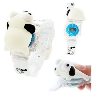 Funny Animal Style Cartoon 3D Children Watch With Flashing Light Dog White: Watches