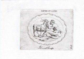 Rare Antique Print FAUN SEATED COMB GOAT Pl. 176 Agostini Battista 1657   Etchings Prints