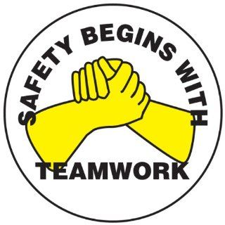 "Accuform Signs LHTL171 Adhesive Vinyl Hard Hat/Helmet Safety Message Label, Legend ""SAFETY BEGINS WITH TEAMWORK"", 2 1/4"" Diameter, Yellow/Black on White (Pack of 10) Industrial & Scientific"
